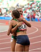 23 June 2019; Sarah Lavin of Ireland congratulates Elvira Herman of Belarus after finishing second to her in the Women's 100m hurdles during Dynamic New Athletics qualification match three at Dinamo Stadium on Day 3 of the Minsk 2019 2nd European Games in Minsk, Belarus. Photo by Seb Daly/Sportsfile