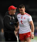 22 June 2019; Tyrone manager Mickey Harte shakes hands with Darren McCurry of Tyrone after he is substituted during the GAA Football All-Ireland Senior Championship Round 2 match between Longford and Tyrone at Glennon Brothers Pearse Park in Longford.  Photo by Eóin Noonan/Sportsfile