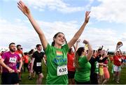 21 June 2019; 2019 marks the second year running that Aviva is a gold sponsor of the charity run. This year's event sold out, with 1,000 runners taking to the course. Proceeds from the event go to LGBT + charities belong to, Shout Out and HIV Ireland. See Aviva.ie/pride or #SafeToDream for further details. Pictured at the Dublin Pride Run, a marquee event for Dublin Pride Festival, in the Phoenix Park is Ciara Muirhead of Aviva during the mass warm up. Photo by Sam Barnes/Sportsfile