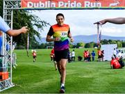 21 June 2019; 2019 marks the second year running that Aviva is a gold sponsor of the charity run. This year's event sold out, with 1,000 runners taking to the course. Proceeds from the event go to LGBT + charities belong to, Shout Out and HIV Ireland. See Aviva.ie/pride or #SafeToDream for further details. Pictured is Davinci Guerra Sanchez of Dublin Front Runners crossing the finish line during the Dublin Pride Run, a marquee event for Dublin Pride Festival, in the Phoenix Park. Photo by Sam Barnes/Sportsfile