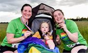 21 June 2019; 2019 marks the second year running that Aviva is a gold sponsor of the charity run. This year's event sold out, with 1,000 runners taking to the course. Proceeds from the event go to LGBT + charities belong to, Shout Out and HIV Ireland. See Aviva.ie/pride or #SafeToDream for further details. Pictured are Laura Kilbane, right, with her son Cal Walsh, 16 months old, and mother, Caroline Doory, from Leixlip, Co. Kildare, following the Dublin Pride Run, a marquee event for Dublin Pride Festival, in the Phoenix Park. Photo by Sam Barnes/Sportsfile