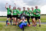 21 June 2019; 2019 marks the second year running that Aviva is a gold sponsor of the charity run. This year's event sold out, with 1,000 runners taking to the course. Proceeds from the event go to LGBT + charities belong to, Shout Out and HIV Ireland. See Aviva.ie/pride or #SafeToDream for further details. Pictured are runners from Aviva following the Dublin Pride Run, a marquee event for Dublin Pride Festival, in the Phoenix Park. Photo by Sam Barnes/Sportsfile