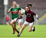 23 June 2019; Nicola Ward of Galway in action against Fiona Doherty of Mayo during the 2019 TG4 Connacht Ladies Senior Football Final match between Mayo and Galway at Elvery's MacHale Park in Castlebar, Mayo. Photo by Matt Browne/Sportsfile