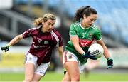 23 June 2019; Roisin Flynn of Mayo in action against Tracey Leonard of Galway during the 2019 TG4 Connacht Ladies Senior Football Final match between Mayo and Galway at Elvery's MacHale Park in Castlebar, Mayo. Photo by Matt Browne/Sportsfile