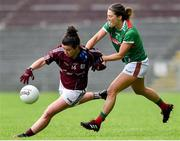 23 June 2019; Roisin Leonard of Galway in action against Danielle Coldwell of Mayo during the 2019 TG4 Connacht Ladies Senior Football Final match between Mayo and Galway at Elvery's MacHale Park in Castlebar, Mayo. Photo by Matt Browne/Sportsfile