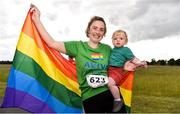 21 June 2019; 2019 marks the second year running that Aviva is a gold sponsor of the charity run. This year's event sold out, with 1,000 runners taking to the course. Proceeds from the event go to LGBT + charities belong to, Shout Out and HIV Ireland. See Aviva.ie/pride or #SafeToDream for further details. Pictured at the Dublin Pride Run, a marquee event for Dublin Pride Festival, in the Phoenix Park are; Laura Kilbane, with her son Cal Walsh, 16 months old, both from Leixlip, Co. Kildare. Photo by Sam Barnes/Sportsfile