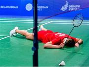 24 June 2019; Maria Ulitina of Ukraine reacts after losing a point during her Women's Badminton Singles group stage match against Kristin Kuuba of Estonia at Falcon Club on Day 4 of the Minsk 2019 2nd European Games in Minsk, Belarus. Photo by Seb Daly/Sportsfile