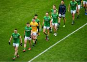 23 June 2019; Bryan Menton of Meath leads his team in the parade prior to the Leinster GAA Football Senior Championship Final match between Dublin and Meath at Croke Park in Dublin. Photo by Brendan Moran/Sportsfile