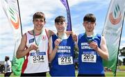 22 June 2019; Boys Triple Jump Medallists, from left, Joshua Knox of Belfast H.S, Co. Antrim, silver, Adam Turner of Colaiste Chriost Rì, Co. Cork, gold and Dillon Ryan of CBS Thurles, Co. Tipperary, bronze, during the Irish Life Health Tailteann Inter-provincial Games at Santry in Dublin. Photo by Sam Barnes/Sportsfile