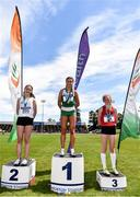 22 June 2019; Girls 1500m medallists, from left, Cara Laverty of Thornhill College, Co. Derry, Ava O'Connor of Scoil Chriost Ri, Portlaoise, Co Laois, gold, Joanne Loftus of J&M Gortnor Abbey Co. Mayo, bronze, during the Irish Life Health Tailteann Inter-provincial Games at Santry in Dublin. Photo by Sam Barnes/Sportsfile