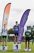 22 June 2019; Boys long jump medallists, from left, Adam Badger of Portadown College, Co. Armagh, silver, Adam Turner of Colaiste Chriost Rì, Co. Cork, gold, and Rayhan Issah of Terenure College, Co. Dublin, bronze,  during the Irish Life Health Tailteann Inter-provincial Games at Santry in Dublin. Photo by Sam Barnes/Sportsfile