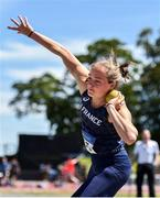 22 June 2019; Agathe Guillemot of Club athlétique bigouden, France, competing in the Shot Put event during the Senior Womens Heptathlon during the AAI Games & Irish Life Health Combined Events Day 1 at Santry in Dublin. Photo by Sam Barnes/Sportsfile