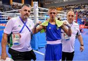 24 June 2019; Kurt Walker of Ireland with coaches John Conlan, left, and Zaur Antia following his Men's Bantamweight bout victory against Zhirayr Sargsyan of Armenia at Uruchie Sports Palace on Day 4 of the Minsk 2019 2nd European Games in Minsk, Belarus. Photo by Seb Daly/Sportsfile