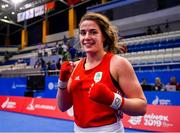 24 June 2019; Grainne Walsh of Ireland following her victory over Rosie Eccles of Great Britain during their Women's Featherweight bout at Uruchie Sports Palace on Day 4 of the Minsk 2019 2nd European Games in Minsk, Belarus. Photo by Seb Daly/Sportsfile