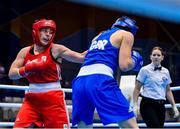 24 June 2019; Grainne Walsh of Ireland, left, in action against Rosie Eccles of Great Britain during their Women's Featherweight bout at Uruchie Sports Palace on Day 4 of the Minsk 2019 2nd European Games in Minsk, Belarus. Photo by Seb Daly/Sportsfile