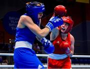 24 June 2019; Grainne Walsh of Ireland, right, in action against Rosie Eccles of Great Britain during their Women's Featherweight bout at Uruchie Sports Palace on Day 4 of the Minsk 2019 2nd European Games in Minsk, Belarus. Photo by Seb Daly/Sportsfile
