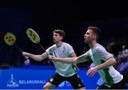 24 June 2019; Paul Reynolds, right, and Joshua Magee of Ireland in action against Christopher Langridge and Marcus Ellis of Great Britain during their Men's Badminton Doubles group stage match at Falcon Club on Day 4 of the Minsk 2019 2nd European Games in Minsk, Belarus. Photo by Seb Daly/Sportsfile