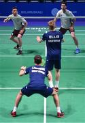 24 June 2019; Paul Reynolds and Joshua Magee of Ireland in action against Christopher Langridge and Marcus Ellis of Great Britain during their Men's Badminton Doubles group stage match at Falcon Club on Day 4 of the Minsk 2019 2nd European Games in Minsk, Belarus. Photo by Seb Daly/Sportsfile