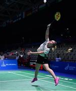 24 June 2019; Rachael Darragh of Ireland in action against Agnes Korosi of Hungary during their Women's Badminton Singles group stage match at Falcon Club on Day 4 of the Minsk 2019 2nd European Games in Minsk, Belarus. Photo by Seb Daly/Sportsfile