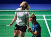24 June 2019; Agnes Korosi of Hungary reacts after winning a point during her Women's Badminton Singles group stage match against Rachael Darragh of Ireland at Falcon Club on Day 4 of the Minsk 2019 2nd European Games in Minsk, Belarus. Photo by Seb Daly/Sportsfile