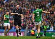 23 June 2019; Referee Sean Hurson prepares to issue a yellow card to Conor McGill of Meath during the Leinster GAA Football Senior Championship Final match between Dublin and Meath at Croke Park in Dublin. Photo by Ray McManus/Sportsfile
