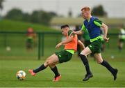 24 June 2019; Adam O'Reilly, left, and Shane Farrell during a Republic of Ireland Under-19 training session at FAI National Training Centre in Abbotstown, Dublin. Photo by Sam Barnes/Sportsfile