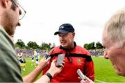23 June 2019; Down Manager Conor Deegan speaking to journalists after the EirGrid Ulster GAA Football U20 Championship Round match between Down and Antrim at St Tiernach's Park in Clones, Monaghan. Photo by Oliver McVeigh/Sportsfile