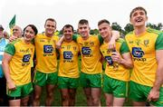 23 June 2019; Eoin McHugh, Neil McGee, Frank McGlynn, Paddy McBrearty, Ciaran Thompson and Hugh McFadden of Donegal celebrates after the Ulster GAA Football Senior Championship Final match between Donegal and Cavan at St Tiernach's Park in Clones, Monaghan. Photo by Oliver McVeigh/Sportsfile