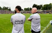 23 June 2019; Donegal selector Karl Lacey, left, and Donegal Manager Declan Bonner look on from the sideline during the Ulster GAA Football Senior Championship Final match between Donegal and Cavan at St Tiernach's Park in Clones, Monaghan. Photo by Oliver McVeigh/Sportsfile