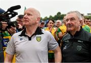 23 June 2019; Donegal Manager Declan Bonner and Donegal GAA Chairman Mick McGrath after the Ulster GAA Football Senior Championship Final match between Donegal and Cavan at St Tiernach's Park in Clones, Monaghan. Photo by Oliver McVeigh/Sportsfile