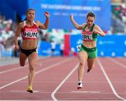 25 June 2019; Niamh Whelan, right, of Ireland competes in the Women's 100m during Dynamic New Athletics quarter-final match two at Dinamo Stadium on Day 5 of the Minsk 2019 2nd European Games in Minsk, Belarus. Photo by Seb Daly/Sportsfile