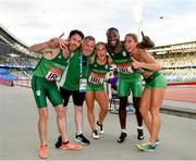 25 June 2019; Ireland Hunt Mixed Medley Relay team, from left, Paul Byrne, coach Dermot McGranaghan, Catherine McManus, Brandon Arrey and Amy O'Donoghue following Dynamic New Athletics quarter-final match two at Dinamo Stadium on Day 5 of the Minsk 2019 2nd European Games in Minsk, Belarus. Photo by Seb Daly/Sportsfile