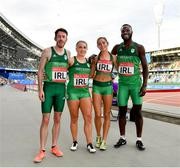 25 June 2019; Ireland Hunt Mixed Medley Relay team, from left, Paul Byrne, Catherine McManus, Amy O'Donoghue and Brandon Arrey following Dynamic New Athletics quarter-final match two at Dinamo Stadium on Day 5 of the Minsk 2019 2nd European Games in Minsk, Belarus. Photo by Seb Daly/Sportsfile