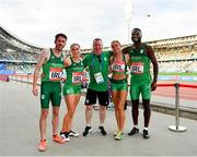 25 June 2019; Ireland Hunt Mixed Medley Relay team, from left, Paul Byrne, Catherine McManus, coach Dermot McGranaghan, Amy O'Donoghue and Brandon Arrey following Dynamic New Athletics quarter-final match two at Dinamo Stadium on Day 5 of the Minsk 2019 2nd European Games in Minsk, Belarus. Photo by Seb Daly/Sportsfile