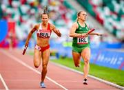 25 June 2019; Catherine McManus of Ireland, right, crosses the line ahead of Inna Eftimova of Bulgaria in The Hunt Mixed Medley Relay during Dynamic New Athletics quarter-final match two at Dinamo Stadium on Day 5 of the Minsk 2019 2nd European Games in Minsk, Belarus. Photo by Seb Daly/Sportsfile
