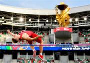 25 June 2019; Simon Hansen of Denmark competes in the Men's High Jump during Dynamic New Athletics quarter-final match two at Dinamo Stadium on Day 5 of the Minsk 2019 2nd European Games in Minsk, Belarus. Photo by Seb Daly/Sportsfile