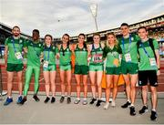 25 June 2019; Team Ireland athletes during Dynamic New Athletics quarter-final match two at Dinamo Stadium on Day 5 of the Minsk 2019 2nd European Games in Minsk, Belarus. Photo by Seb Daly/Sportsfile