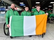 26 June 2019; Members of the Irish Wheelchair Hurling team from left Peadar Heffron, Peter Lewis and Conn Nagle all from Co Antrim before the team's departure from Dublin Airport in advance of the ParaGamesBreda 2019 in Breda, Netherlands. Photo by Matt Browne/Sportsfile