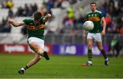 22 June 2019; Sean O'Shea of Kerry takes a freekick from the ground during the Munster GAA Football Senior Championship Final match between Cork and Kerry at Páirc Ui Chaoimh in Cork.  Photo by Brendan Moran/Sportsfile
