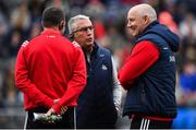 22 June 2019; Cork selector Sean Hayes, centre, with manager Ronan McCarthy during the Munster GAA Football Senior Championship Final match between Cork and Kerry at Páirc Ui Chaoimh in Cork.  Photo by Brendan Moran/Sportsfile
