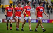 22 June 2019; Brian Hurley of Cork, 2nd from left, walks with team-mates Luke Connolly, Mark Collins and Tomás Clancy in the parade prior to the Munster GAA Football Senior Championship Final match between Cork and Kerry at Páirc Ui Chaoimh in Cork.  Photo by Brendan Moran/Sportsfile