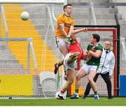 22 June 2019; Brian Hurley of Cork scores a goal past kerry goalkeeper Shane Ryan and full back Tadhg Morley during the Munster GAA Football Senior Championship Final match between Cork and Kerry at Páirc Ui Chaoimh in Cork.  Photo by Brendan Moran/Sportsfile