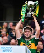 22 June 2019; Kerry captain Jack O'Connor lifts the cup after the Electric Ireland Munster GAA Football Minor Championship Final match between Cork and Kerry at Páirc Ui Chaoimh in Cork.  Photo by Brendan Moran/Sportsfile