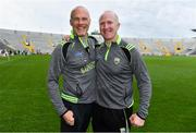 22 June 2019; Kerry manager James Costello, left, celebrates with Johnny Enright after the Electric Ireland Munster GAA Football Minor Championship Final match between Cork and Kerry at Páirc Ui Chaoimh in Cork.  Photo by Brendan Moran/Sportsfile