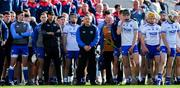8 June 2019; Waterford manager Paraic Fanning, centre, stands with his backroom staff and players for Amhrán na bhFiann before the Munster GAA Hurling Senior Championship Round 4 match between Cork and Waterford at Páirc Uí Chaoimh in Cork. Photo by Piaras Ó Mídheach/Sportsfile