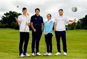 26 June 2019; AIG Insurance, proud sponsor of the Golfing Union of Ireland and Irish Ladies Golf Union, today launched this year's AIG Cups & Shields in GUI National Headquarters with the help from AIG Senior Foursomes champion, Eleanor Metcalfe, 2018 AIG Irish Close Champion, Robbie Cannon and Dublin GAA stars Eoghan O'Donnell and Kevin McManamon. AIG Insurance is offering exclusive discount to GUI and ILGU members. For a quote, go to www.aig.ie/golfer or call 1890 405 405 and see how much you could save! Pictured at the AIG Insurance GUI & ILGU Cups & Shields Launch at Carton House in Maynooth are, from left, Eoghan O'Donnell of Dublin, Robbie Cannon of Balbriggan Golf Club, Eleanor Metcalfe of Laytown and Bettystown Golf Club and Kevin McManamon of Dublin. Photo by Sam Barnes/Sportsfile