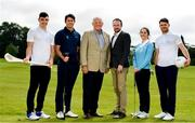 26 June 2019; AIG Insurance, proud sponsor of the Golfing Union of Ireland and Irish Ladies Golf Union, today launched this year's AIG Cups & Shields in GUI National Headquarters with the help from AIG Senior Foursomes champion, Eleanor Metcalfe, 2018 AIG Irish Close Champion, Robbie Cannon and Dublin GAA stars Eoghan O'Donnell and Kevin McManamon. AIG Insurance is offering exclusive discount to GUI and ILGU members. For a quote, go to www.aig.ie/golfer or call 1890 405 405 and see how much you could save! Pictured at the AIG Insurance GUI & ILGU Cups & Shields Launch at Carton House in Maynooth are, from left, Eoghan O'Donnell of Dublin, Robbie Cannon of Balbriggan Golf Club, Brendan McKenna, AIG, John Gillick, Head of Consumer Marketing and Sponsorship, AIG, Eleanor Metcalfe of Laytown and Bettystown Golf Club and Kevin McManamon of Dublin. Photo by Sam Barnes/Sportsfile