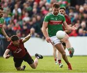 22 June 2019; Aidan O'Shea of Mayo in action against Donal O'Hare of Down  during the GAA Football All-Ireland Senior Championship Round 2 match between Down and Mayo at Pairc Esler in Newry, Down.  Photo by Oliver McVeigh/Sportsfile