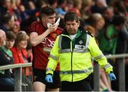 22 June 2019; Owen McCabe of Down leaving the field with a jaw injury during the GAA Football All-Ireland Senior Championship Round 2 match between Down and Mayo at Pairc Esler in Newry, Down. Photo by Oliver McVeigh/Sportsfile