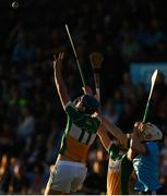 26 June 2019; Barry Kealey of Offaly in action against Andrew Dunphy of Dublin during the Bord Gais Energy Leinster GAA Hurling U20 Championship quarter-final match between Dublin and Offaly at Parnell Park in Dublin. Photo by Eóin Noonan/Sportsfile